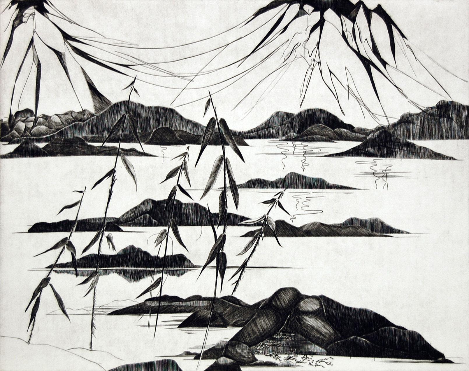 Anne Breivik – Fiskefjord, 1982, dyptrykk, 49 x 39 cm