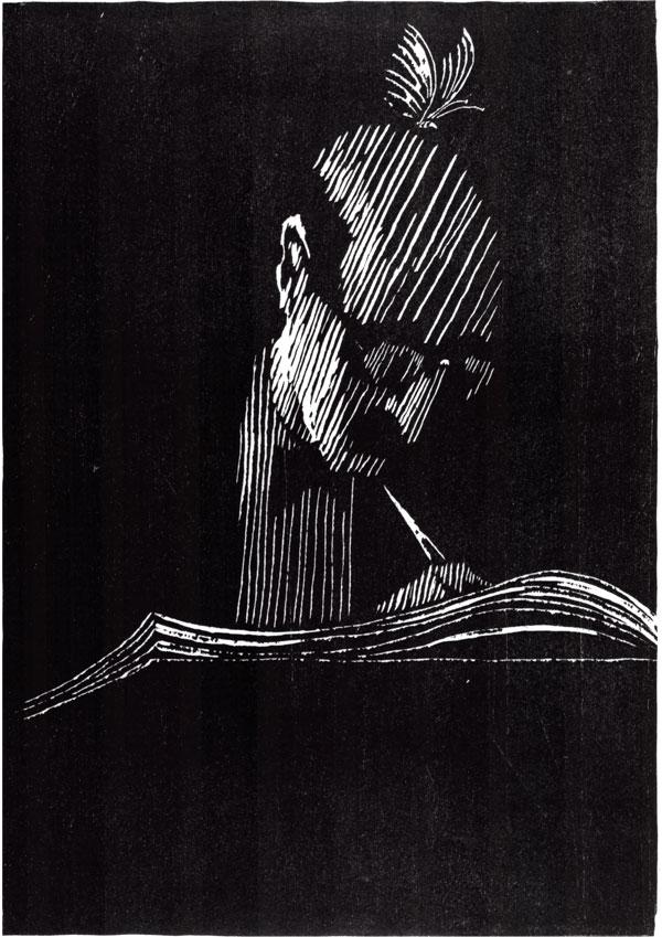 Niclas Gulbrandsen - Bokholder med sommerfugl – 1994. Tresnitt. 30 x 43 cm