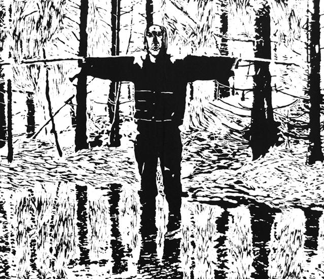 Cathrine Dahl og Ørjan Aas - Bytting. Tresnitt, 110 x 129 cm