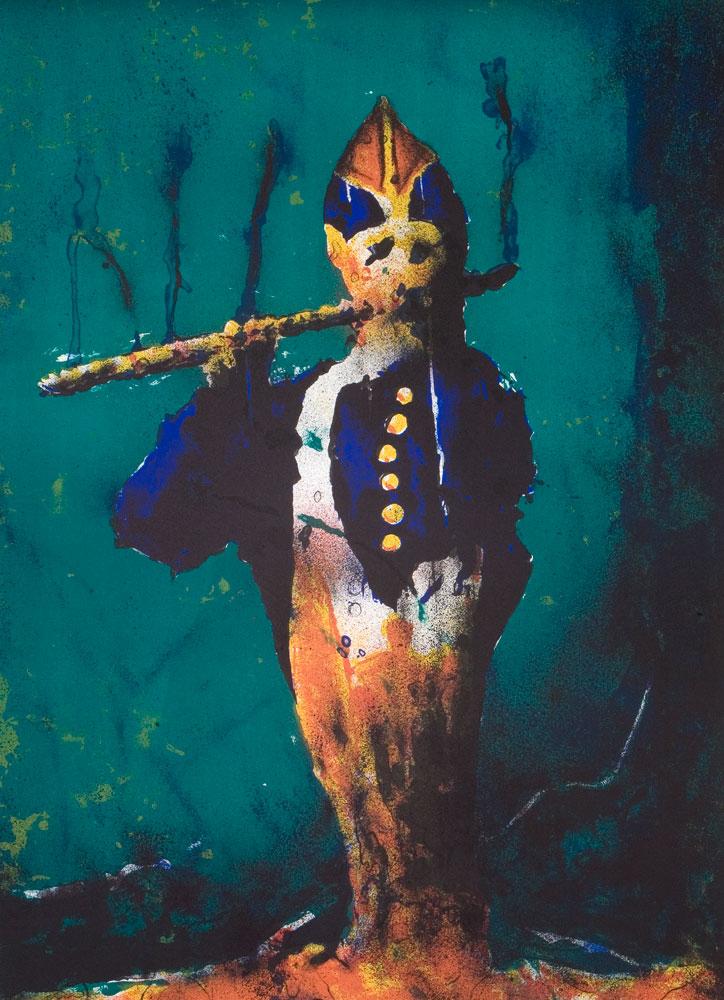 Fløytespilleren - 80 x 60 cm, Litografi