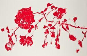 Gro Finne - Rose. SIlketrykk 120 x 80 cm