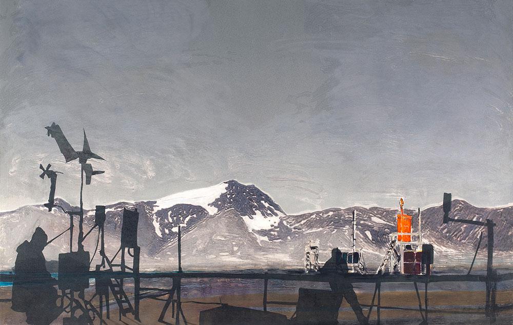 Ellen Karin Mæhlum. Observert 79°N. Karborundum og koldnål, 102 x 70 cm.
