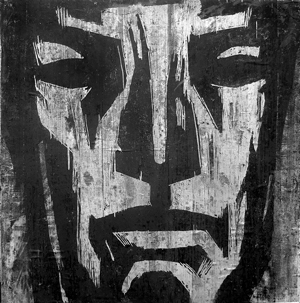 Kalle Nilsen: Ansikt - Tresnitt, 150 x 150 cm