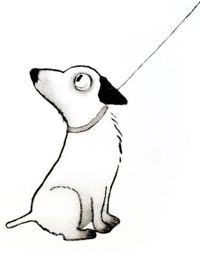 Hund i bånd. Plexitrykk. 76x 103,5 cm