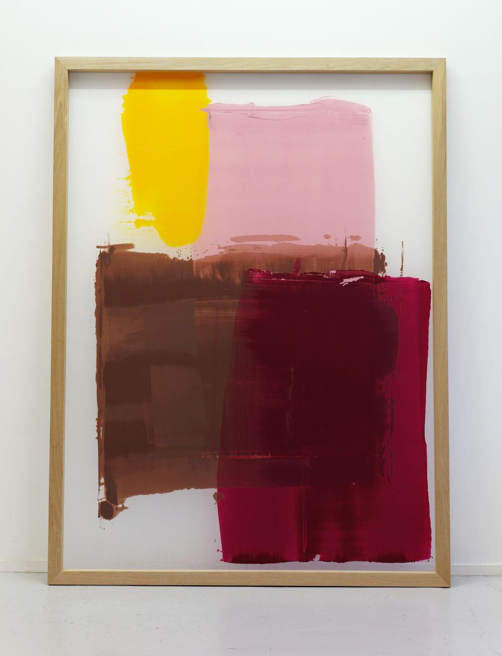 Vilde Salhus Røed. Fra serien After The Masters (2014). Eik, silketrykkduk og malingsrester. 200 x 150 cm