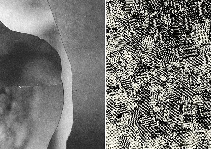 Ingri Haraldsen: Uten tittel (detalj), Petter Buhagen: Collapse #7 (detalj). Begge er silketrykk på papir.