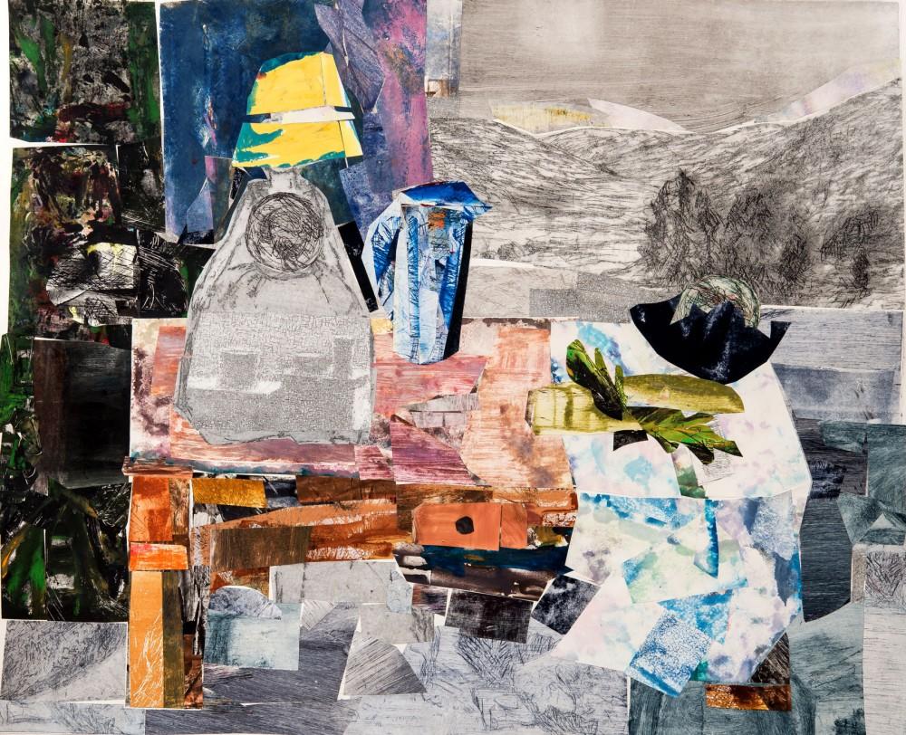 Sigrid Øyrehagen - Landskapet bak bordet. Grafikk - collage 66 x 79 cm.