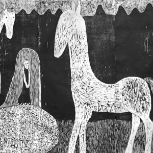 Anne Kampmann - Bergtatt. Tresnitt, 125 x 198 cm