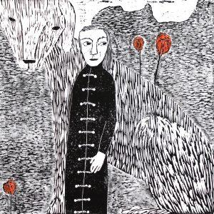 Anne Kampmann - Kåpe med bånd og knapper. Tresnitt - 85 x 85 cm