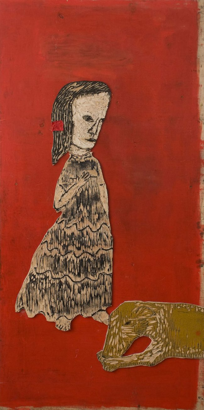 Anne Kampmann - Rødt hårbånd- Tresnitt trykkplate. 75 x 153 cm