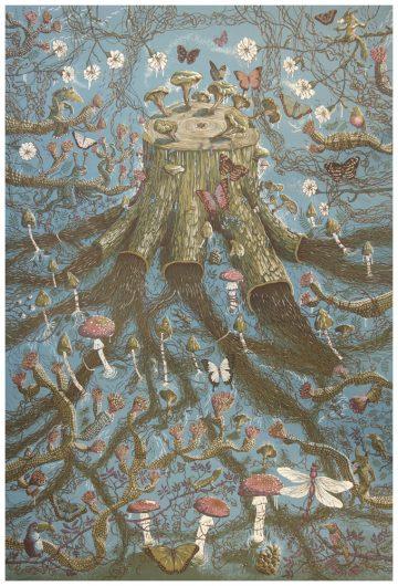 Lars Aurtande - Yggdrasil. Silketryk 130 x 170 cm silketrykk