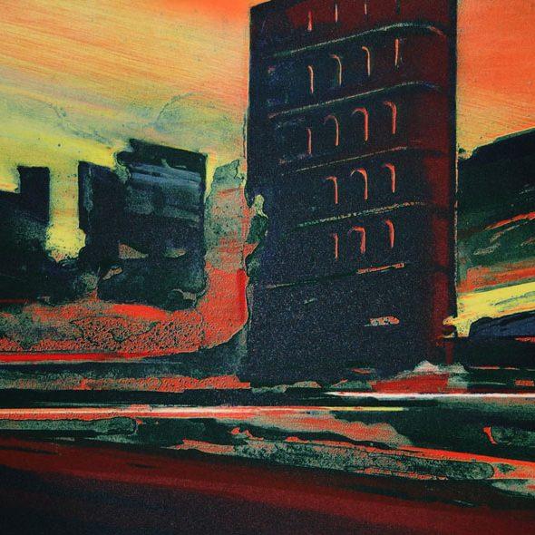 Magne Rygh - Varm asfalt. Litografi, 80 x 35 cm
