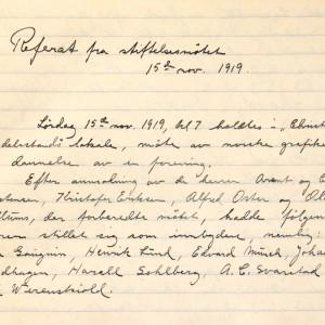 Første avsnitt i referatet fra stiftelsesmøtet 15. november 1919