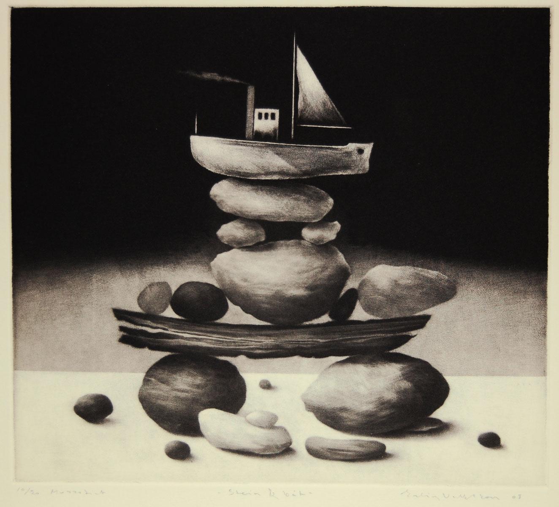 Erling Valtyrson - Stein og båt. Mezzotint