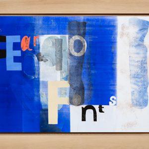 Magne Furuholmen – No Fear of Fonts. Monotypi / olje på lerret, 192 x 142 cm inkl. ramme (2015)